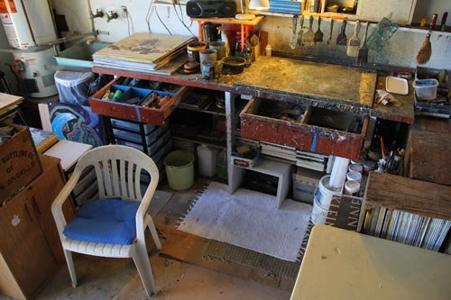 anders tomlinson paint studio, work bench, san diego, ca.