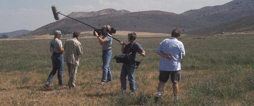 George Lewis interviews Upper Klamath Reclamation Project farmer Ty Kliewer during the summer of 2001.  Photo by Anders Tomlinson.