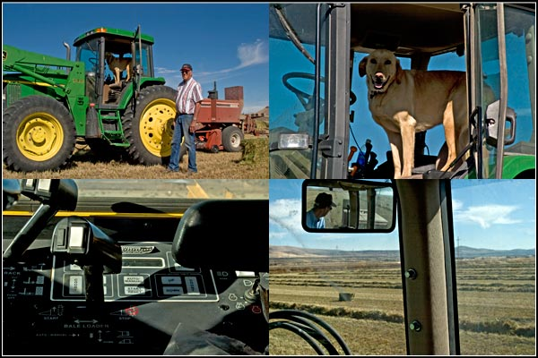 Cab scenes during a tule lake basin alfalfa harvest.  tulelake. california.  photos by anders tomlinson