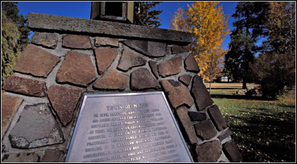 Monument with Malin history in malin park.  malin, oregon.  photo by anders tomlinson