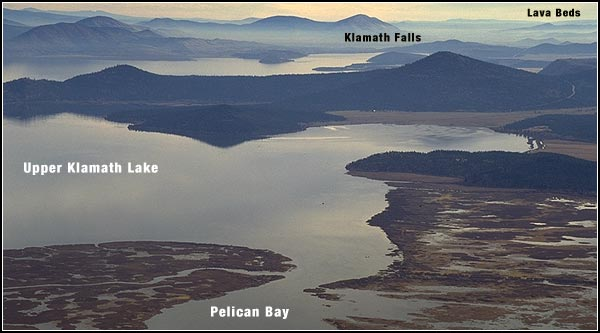 view of upper klamath national wildlife refuge, pelican bay, upper klamath lake, klamath falls oregon and lava beds national monument, tulelake, ca.  photo by anders tomlinson.  view is from atop pelican butte