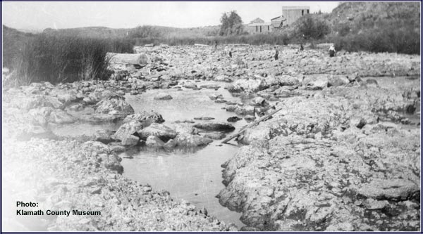 klamath county museum photo of link river going dry.