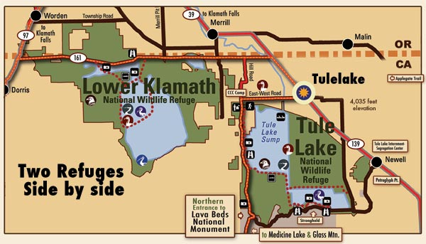 tule lake and lower klamath national wildlife refuges  map