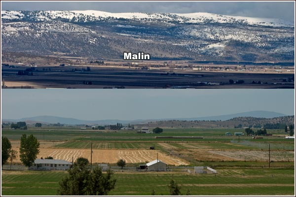 view of malin oregon from the west in the winter and a farm scene looking west from malin's water tower hill.  photos by anders tomlinson