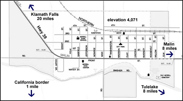 map of downtown merrill, oregon