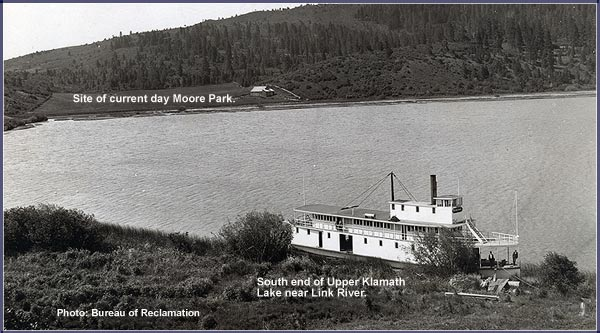 bureau of relamation photo of steambot at the southern end of upper klamath lake.