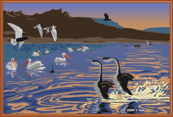 tule lake national wildlife refuge illustration by j. Ivie