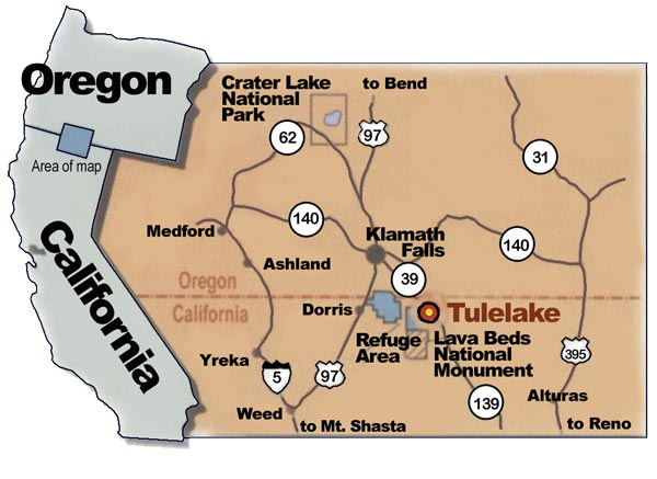 Map of the Tulelake, tule Lake Basin region and the surrounding northern california and southern oregon border.  map by anders tomlinson.