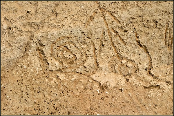 petroglyph point, lava beds national monument. tulelake, ca. closeup of petroglyph. photo by anders tomlinson.