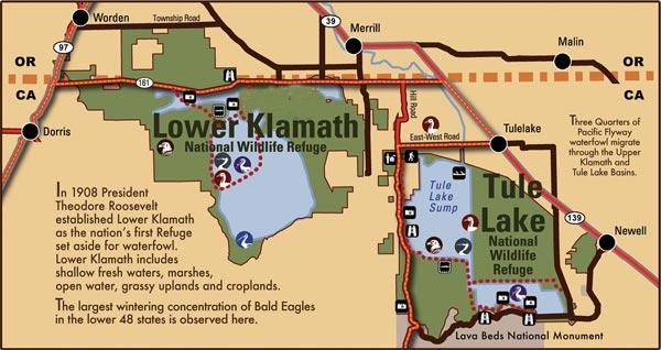 map of Tule Lake and Lower Klamath National Wildlife Refuges