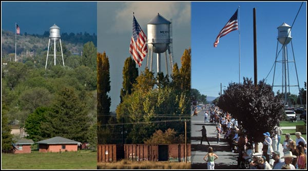 large american flag and water tower scenes, merrill, oregon. 2004. photos by anders tomlinson