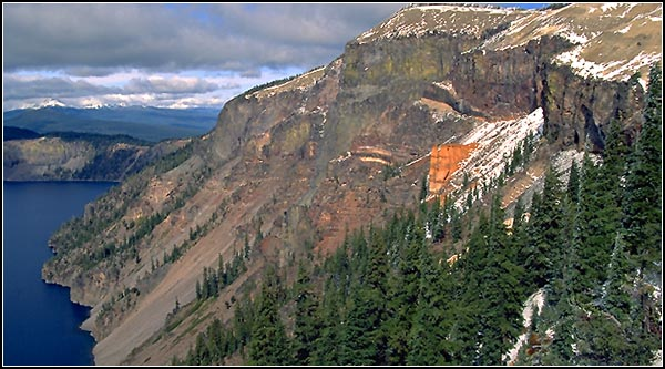 crater lake national park, klamath county, looking at cliff with orange outcropping. photo by anders tomlinson