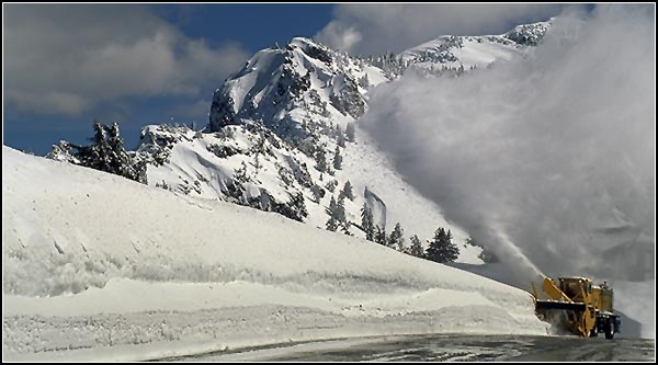 crater lake national park, snow being removed from rim drive, klamath county.  photo by anders tomlinson