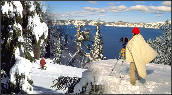 crater lake national park, heavy snow and photgraphing the lake in winter, klamath county.  photos by anders tomlinson