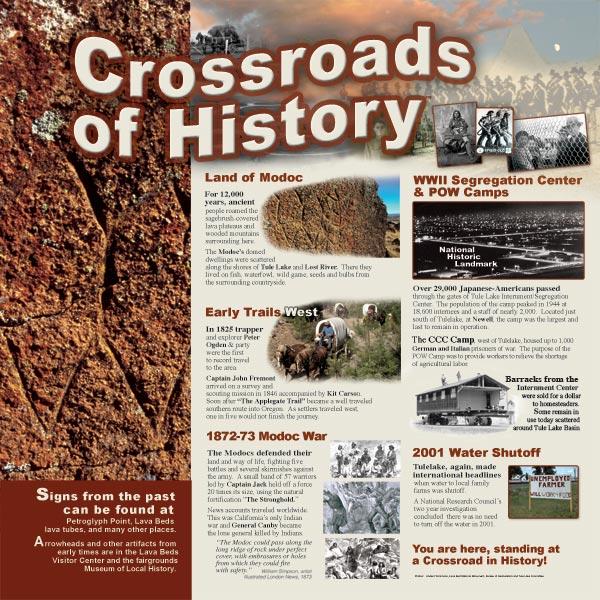 history panel at the tulelake, california rest stop.
