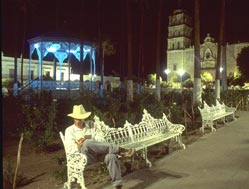 Anders Tomlinson reviewing his day's notes on a summer evening in the plaza, Álamos, Sonora, México. Photo by Antonio Figuerroa.