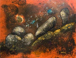 Fire and Rock, painting by Anders Tomlinson, 36 x 48 inches, acrylics-masonite.  Photo by Anders Tomlinson