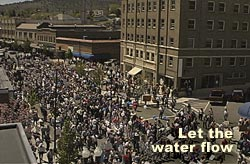 View of Bucket Brigade from Leo's Camera's roof, May 7th, 2001, Klamath Falls, Oregon. Videocstill by Anders Tomlinson.