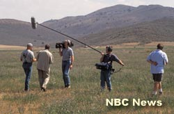 NBC Evening News with George Lewis interviews Ty Kliewer in Klamath Falls, 2001.  Photo by Anders Tomlinson.