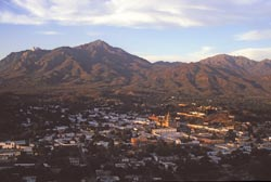 View of Alamos, Sonora, Mexico from the north with Sierra de Alamos behind the town
