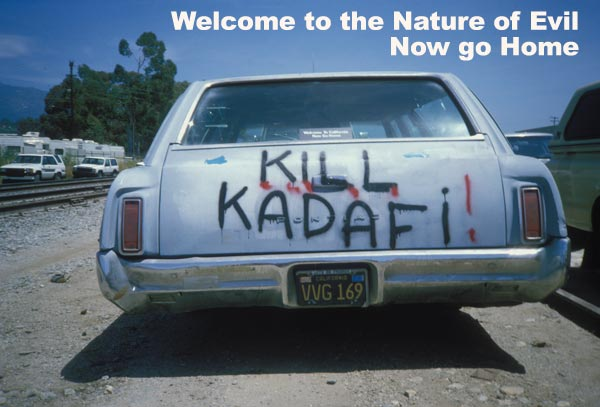 Kill Kadafi painted onto a station wagon with a decal saying, Welcome to California, Now Go Home.  Santa Barbara, CA.,  1988. Photo by Anders Tomlinson