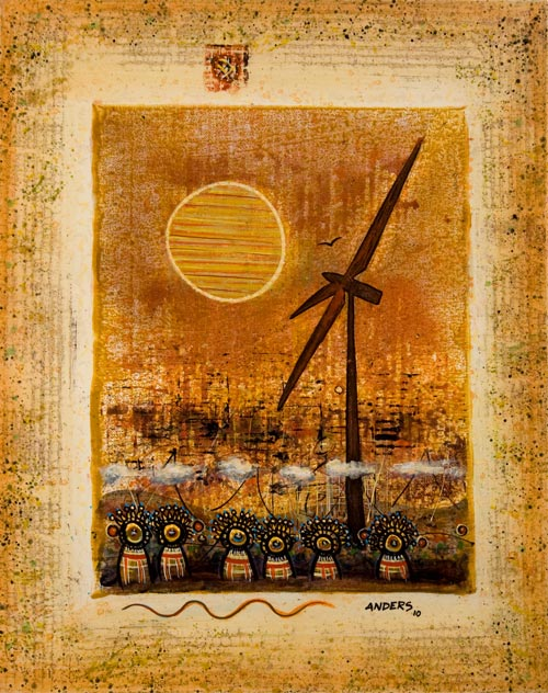 Wind Mills On The Mind, painting by Anders Tomlinson, acrylics-canvas, 20 x 16 inches. Photo by Anders Tomlinson