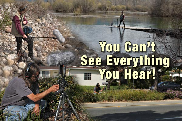 denver clay and anders tomlinson have been recording water related audio for decades.  denver clay is seen recording rock creek, harriman springs, klamath county, oregon and street audio in Allied Gardens, sand diego, california.  photos by anders tomlinson