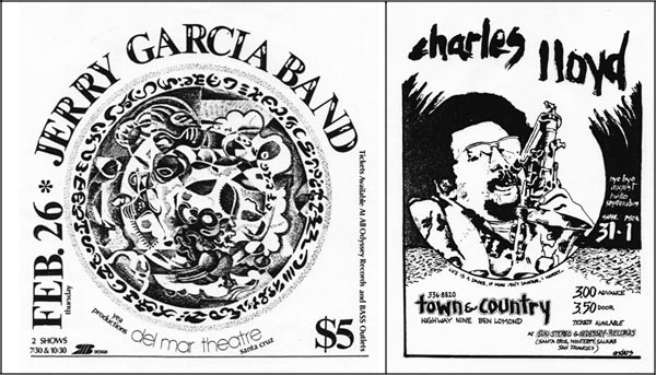 Anders Tomlinson posters for the Jerry Garcia and Charles Llyod.  Santa Cruz, CA.