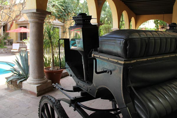 Hacienda de los Santos, Álamos, Sonora, México - February 26, 2017 photo by Anders Tomlinson. Carriage on display
