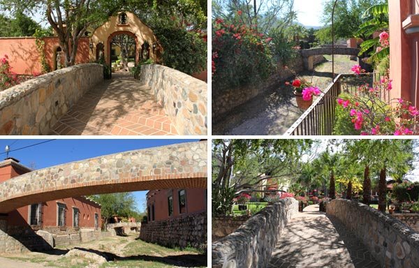 Bridge connecting Hacienda de los Santos, Alamos, Sonora México. Photos by Anders Tomlinson, March 2017.