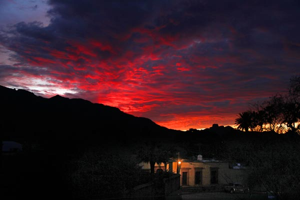 Sunset in the backyard of the Earle and Joan Winderman home on Toluca Street in Álamos, Sonora, Mexico 2017. photo by Anders Tomlinson.
