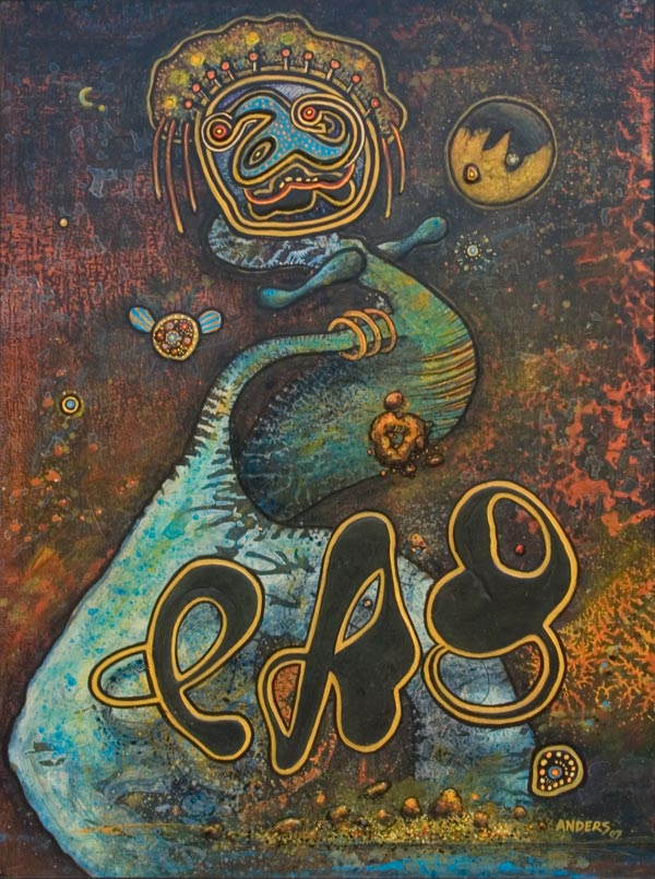 Bali Baby Dog from the Lava Dogs and Dancers painting series by Anders Tomlinson.  40 x 30 inches.  Acrylics on masonite.  Painted in Chiloquin and Klamath Falls, Oregon and Tulelake, California between 1998 and 2005.