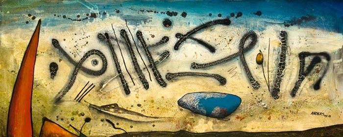 Graffiti.  Painting by Anders Tomlinson.  Acrylics/masonite.  24 x 72 inches.
