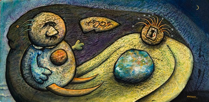 It is All About Human Nature. Painting by Anders Tomlinson. Acrylics/masonite. 24 x 48 inches.