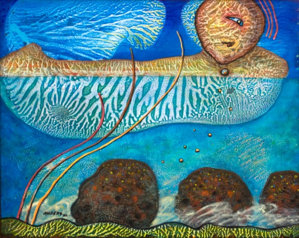 Algae Time.  a painting by Anders Tomlinson.  Part of the Chiloquin series.  24  x 30 inches,  acrylics/masonite.