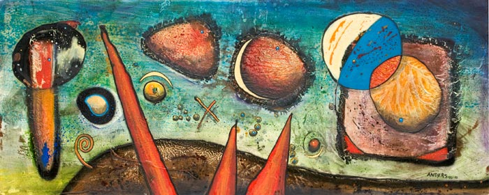 Miro Moments.  Painting by Anders Tomlinson.  Acrylics/masonite.  24 x 72 inches.