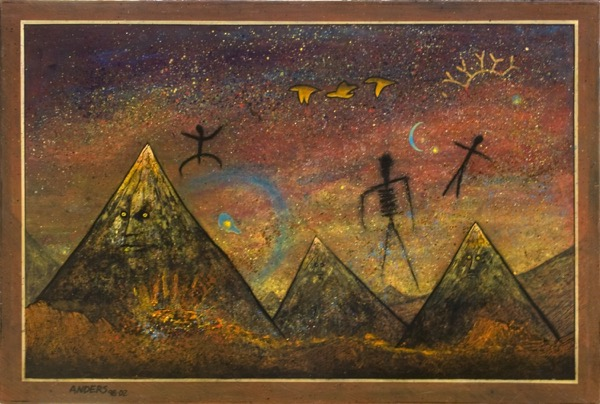 Mountain Spirits. A painting by Anders Tomlinson, part of the Cosmic Migration series.  acrylics - masonite 24 x 36 inches.
