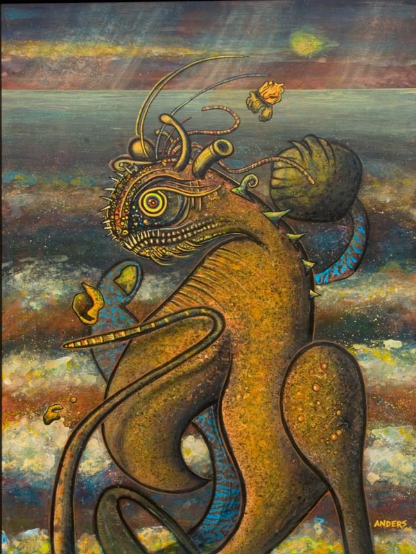 Muto Dog-Dancer from the Lava Dogs and Dancers painting series by Anders Tomlinson.  40 x 30 inches.  Acrylics on masonite.  Painted in Chiloquin and Klamath Falls, Oregon and Tulelake, California between 1998 and 2005.
