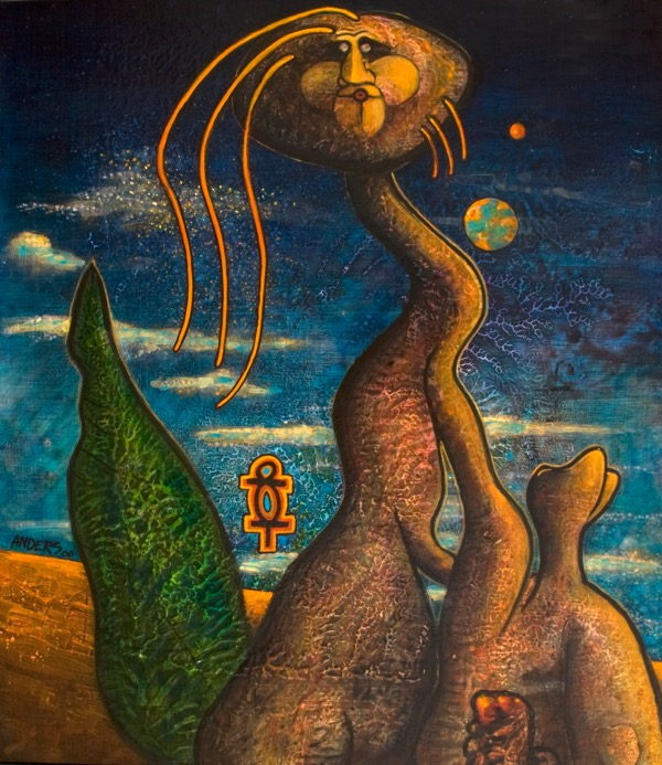 Paternity. a painting bt Anders Tomlinson. Part of the Chiloquin series. 31 x 28 inches. acrylics/masonite.