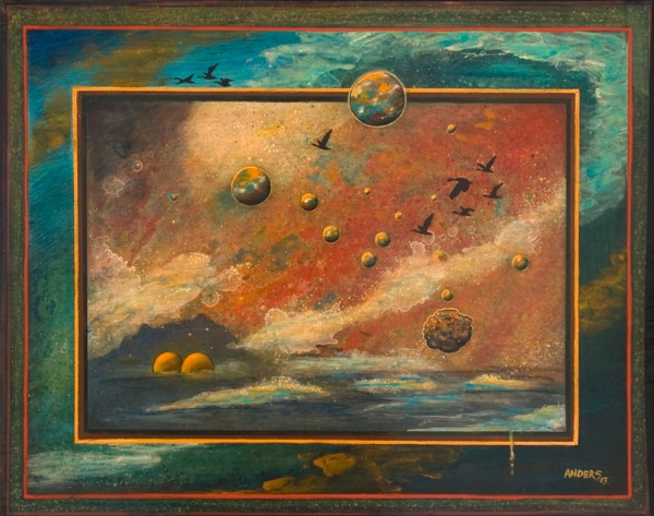 Planetary Spawning Grounds.  A painting by Anders Tomlinson, part of the Cosmic Migration series