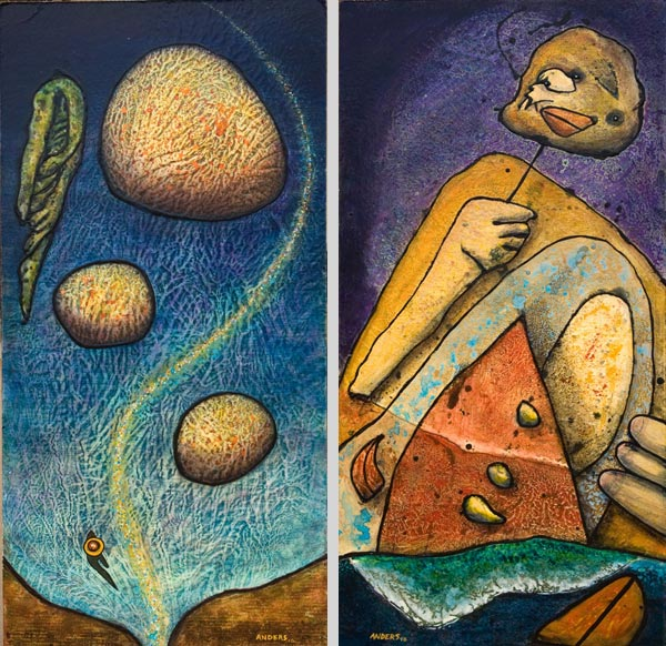 Seaweed and Mask Surfing. Paintings by Anders Tomlinson. Acrylics/masonite. 48 x 24 inches.