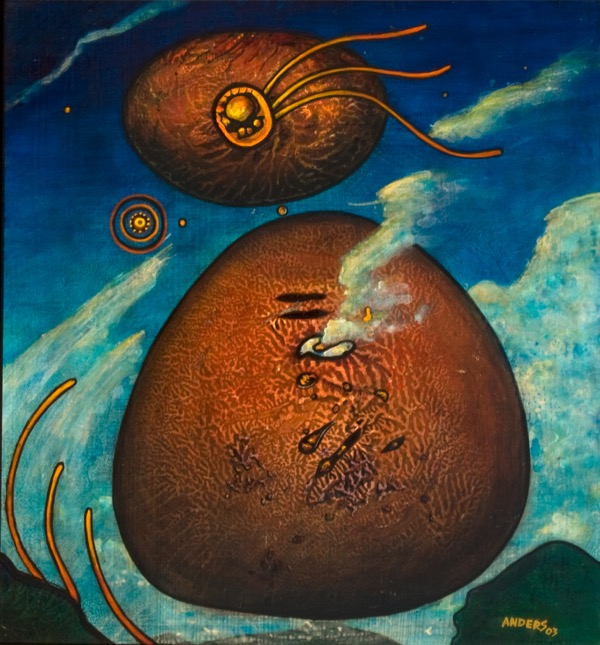 Mare's Eggs.  a painting by Anders Tomlinson.  Part of the Chiloquin series.  31 x 28 inches.  acrylics/masonite.