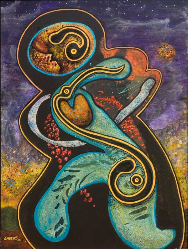 Spirit Dancer from the Lava Dogs and Dancers painting series by Anders Tomlinson.  40 x 30 inches.  Acrylics on masonite.  Painted in Chiloquin and Klamath Falls, Oregon and Tulelake, California between 1998 and 2005.