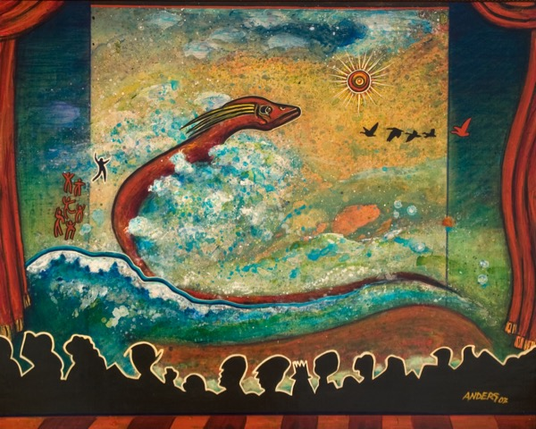 Theater of Irrigation. A painting by Anders Tomlinson, part of the Cosmic Migration series.  24 x 30 inches.  Acrylics - masonite