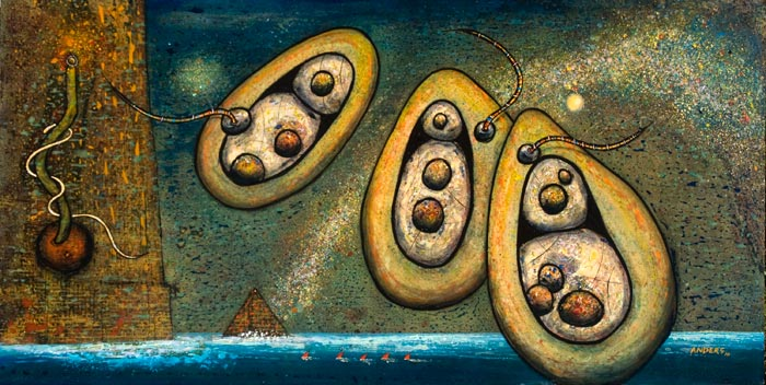 Three Wise Spirits. Painting by Anders Tomlinson. Acrylics/masonite. 24 x 48 inches.