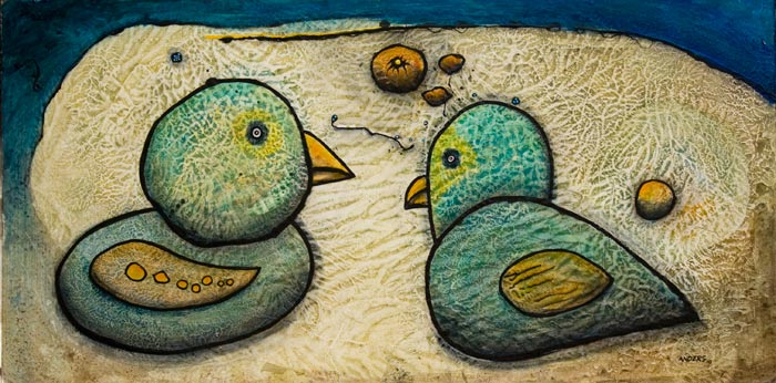 Duh, Two Birds. Painting by Anders Tomlinson. Acrylics/masonite. 24 x 48 inches.