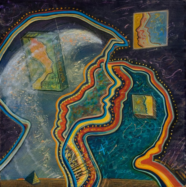 """Memories"" - a painting by Anders Tomlinson, part of the ""Relationship"" series.  24 x 24 inches - acrylics/masonite."