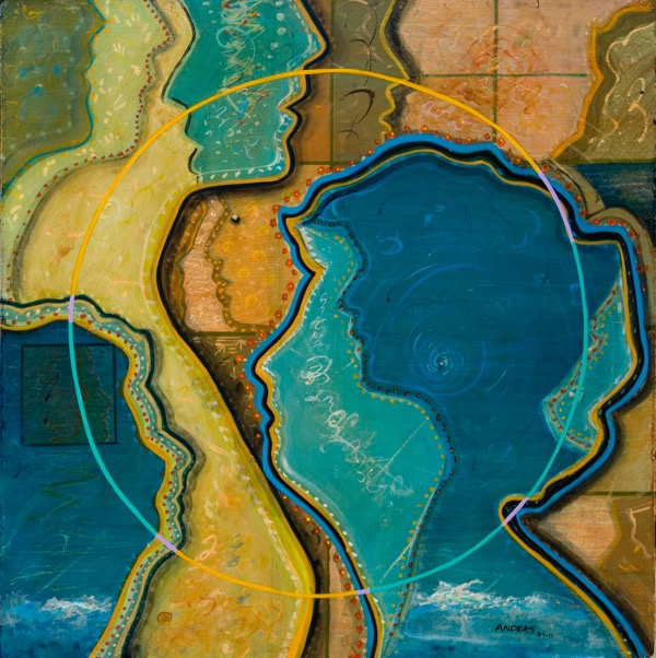 """Multip[lication"" - a painting by Anders Tomlinson, part of the ""Relationship"" series.  24 x 24 inches - acrylics/masonite."