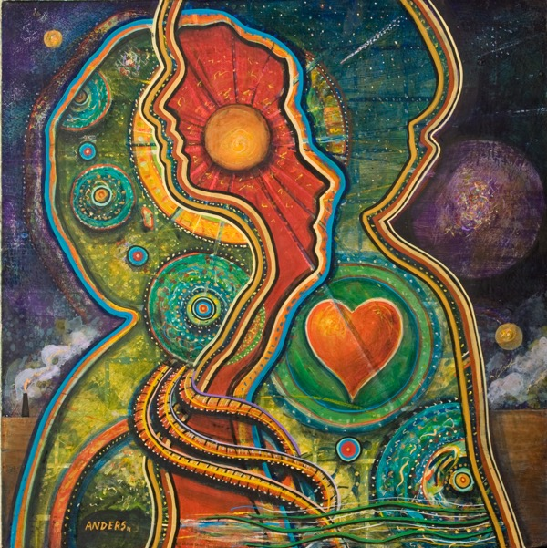 """Intertwined"" - a painting by Anders Tomlinson, part of the ""Relationship"" series.  24 x 24 inches - acrylics/masonite."